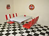 American 50s Diner Furniture Budget Retro Style 4 Legged Table and 4 Red Chairs
