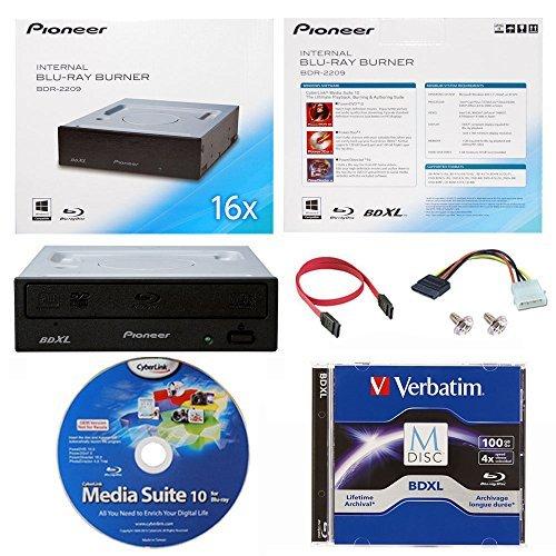 Pioneer 16x bdr-2209interner Blu-ray Brenner in Retail Box Paket mit 100GB Verbatim M-Disc-BDXL Cyberlink Burning Software und Kabel Zubehör