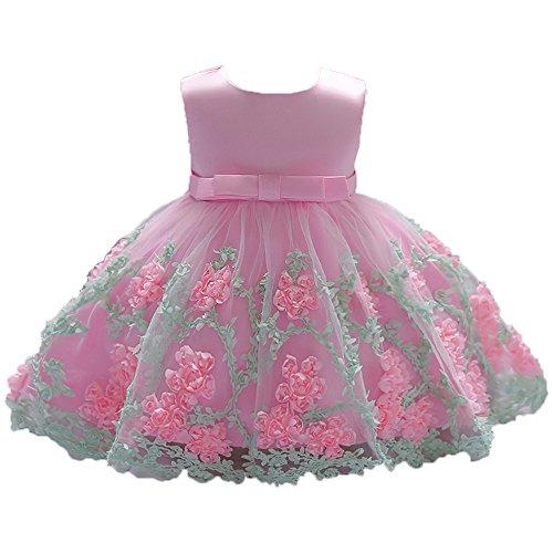 VJGOAL Mädchen Kleider, Blume Baby Prinzessin Tutu Kleid Print Sleeveless Formelle Kleidung Dresses for Girl 70-90(Rosa,90)
