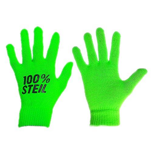 100 % Steil neon Handschuhe - leuchten unter UV-Licht – für jede Party, besonders mit Schwarzlicht Lampen – gehören auf jede Festival Packliste (grün)
