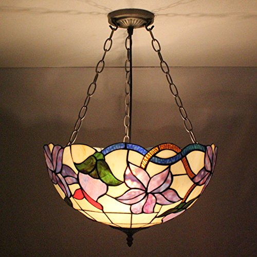 Europäische Weinlese-Hirtenart-Tiffany 16-Zoll-Romantic Lila Iris-Handmade-Buntglas-Pendelleuchte Esszimmer Licht -