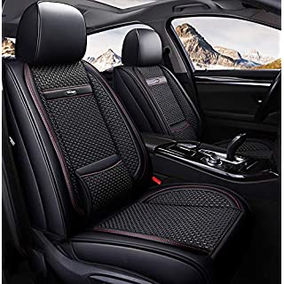 Sommer Ice Silk Car Seat Cover-Vier Seasons Universal Non-Slip Suede Seat Cushion für Fünf-Seat-Car-Sieat,Black