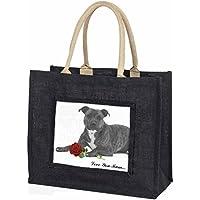 Staffie (B+W) Rose 'Love You Mum' Large Black Shopping Bag Christmas Present Ide