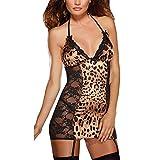 Holeider Damen Sexy Dessous Set Erotik Frauen Unterwäsche Babydoll V-Ausschnitt Sissy Leopard Nachtwäsche mit Strumpfband