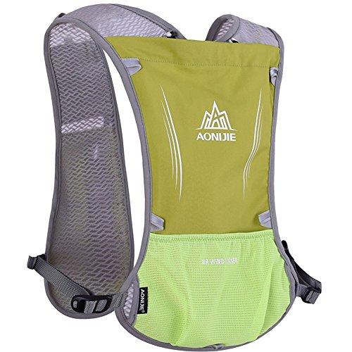 5L-Weste Rucksack blufied Licht Gewicht Trinkblase Tasche mit Reflektierende Streifen für Unisex Frauen Herren Laufen Ski Wandern Fahrrad grasgrün