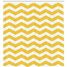 ABAKUHAUS Cheurón Amarillo Cortina de Baño, Patrón Zigzag Moderno Verano Diseño Azulejos Motivo Ondeado Horizontal