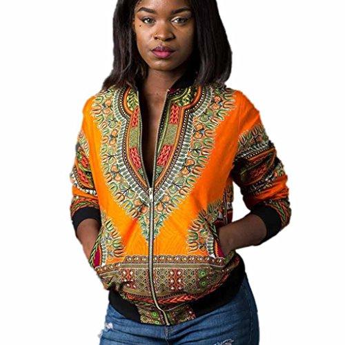 Frau Beiläufig Kurz Jacke Hirolan Lange Hülse Mode afrikanisch Drucken Dashiki Damen Dashiki Cocktailkleid Reißverschluss Jahrgang Outwear (L, Gelb)