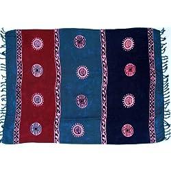 Guru-Shop, Pareo, Tapiz, Falda del Abrigo, Vestido Pareo 6, Azul, Viscosa, Tamaño:One Size, 160x100 cm, Pareos, Toallas de Playa