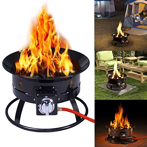 Costway Outdoor Gas Fire Pit Steel Patio Heater Portable Firepit Garden Fireplace Bowl