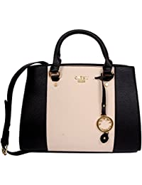 Cathy London Women's Handbag, Material- Synthetic Leather, Colour- Black/Beige