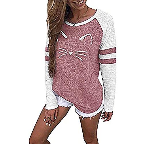 ff15b56695b tefamore Mode Femmes Dames À Manches Courtes Splice Blouse Tops Vêtements T- Shirt (L