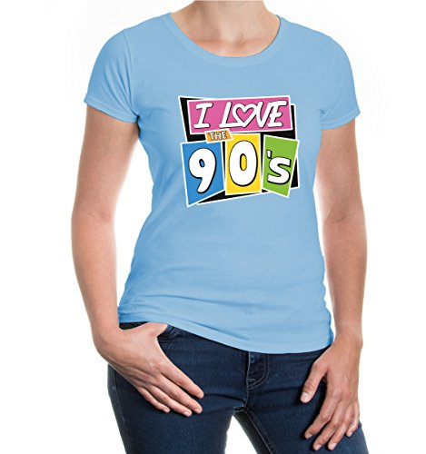 buXsbaum® Girlie T-Shirt I love the 90s Skyblue-z-direct