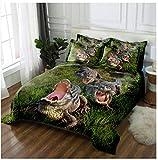 YCMFVG Bettwäsche Set,3D Druck 3Pcs Polyester Bettbezuge Und Kissenbezüge,Verdeckter Reißverschluss Hypoallergen,Krokodil 150X200Cm