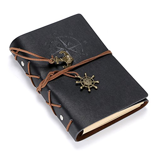"""BTSKY PU Leather Refillable Travel Journal – Vintage 5"""" x 7"""" Writing Traveler's Notebook With Unlined Blank Paper, Use As Sketchbook, Diary, Daily Planner, Drawing Pad – Perfect Gift Idea (Black)"""