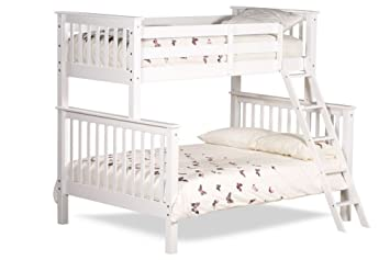 Happy Beds Chiltern White Wooden Triple Sleeper Bunk Bed Furniture Bedroom Frame 3 Single Top 90 X 190 Cm And 46 Double Bottom 135