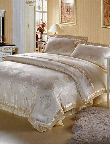 GAOHAIFQ®, vierteilige Anzug, Bettbezug-Sets Beige - Faux Silk , queen -