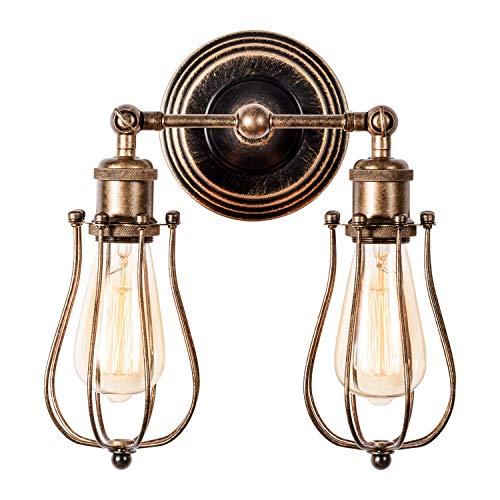 Wandlampe Vintage, Verstellbar 2 Licht Metall Wandleuchte Retro Industrial Style Öl Gerieben Bronze Deckenlampe für Schlafzimmer Wohnzimmer Esstisch(Glühbirne Nicht Enthalten) - Bronze Vintage Wandleuchte
