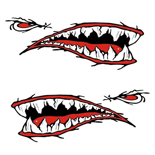 Heaviesk 2 Haifisch-Zähne Mund Aufkleber Kajak-Boots-Auto Wasserdicht Lustige Abziehbilder Fahrzeugzubehör Autoteile Durable