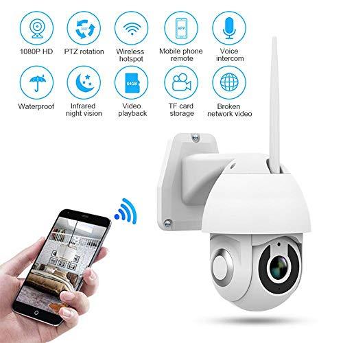 Womdee WiFi Überwachungskamera im Freien, IP-Kamera 1080p Wireless Waterproof Security Dome-Kamera Pan/Tilt/Zoom-Kamera mit Nachtsicht, 2-Wege-Audio, Bewegungs/Geräuscherkennung