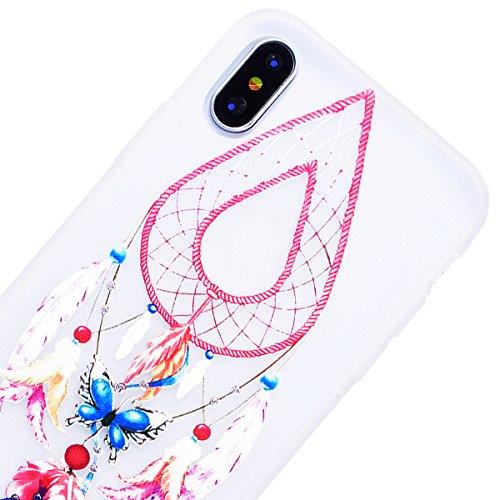 HB-Int für iPhone X Hülle Silikon Transparent Licht Durchlässig Ultra Dünn Schutzhülle Blumen Muster Flexible Case Bumper Shell Handytasche Feder Traumfänger
