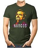 Prilano Herren Fun T-Shirt - Pablo-Escobar-Narcos - L - Oliv