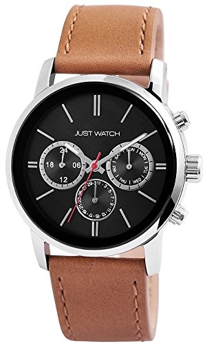 Just Watch Herren Armbanduhr Lederband Analog Quarz Hellbraun JW10103BK-BE