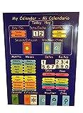 El primer y único CALENDARIO DE BILINGÜE NIÑOS ! Calendario magnética para la Educación en Español e Inglés . Rígido bordo con el imán para colgar en la nevera o cordón para colgar en la pared. …