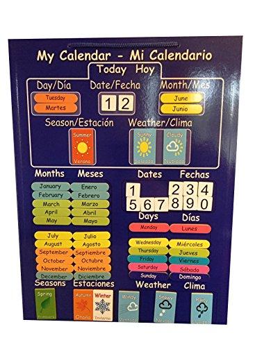 Der erste und einzige Bilingual Kinder Kalender. Educational Magnet Kalender in Spanisch und Englisch. Starr abwischbar Board mit Magnet zum Aufhängen an der Kühlschrank oder Kordel zum Aufhängen an der Wand.