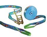 "Slackstar Slackline Set SL81800-15-TT """"basic design 2teilig"""" für Kids & Anfänger, Design """"tootsy"""", 15 m Länge, 50 mm Bandbreite"""