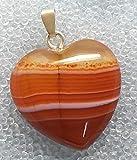KRIO – Karneol/Carneol Herz mit interessanter Zeichnung, als Anhänger mit Sterlingsilber Öse, elegante bauchige Form