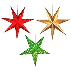 PARTY PROPZ CHRISTMAS HANGING STARS/ CHRISTMAS DECORATIONS SET OF 3 (1 RED, 1 GREEN, 1 GOLDEN)