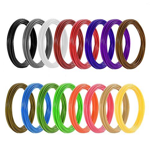 Meterk Stylo 3D Compatible avec filaments PLA ABS Stylo Intelligent 3D et 16 Multi-Couleur Filament PLA Φ1,75 mm, Chaque 6,1M, Total...