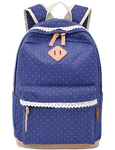 Leichte Schulrucksack mit Polka Dots Nette Canvas Schultaschen Damen Mädchen Extra Groß Kinderrucksack Daypacks Rucksäcke Modische mit Laptop Fach 33 * 45 * 17 cm – Little Princess ()