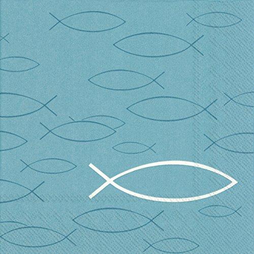 Kommunions-Servietten / Konfirmations-Servietten in türkis blau mit Fisch-Motiv / Kirchliches Fest / Kommunion Junge & Mädchen / Konfirmation / Firmung / Taufe (60 Stück)