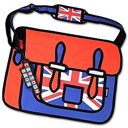 3D Bags – Borsa 2D bidimensionale Cartoon – design UNION JACK Bandiera Inglese