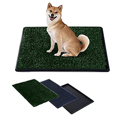 PawHut Indoor Dog Toilet Puppy Cat Pet Training Mat Potty Tray Grass Restroom Portable (51L x 64W x 3T (cm)) 3