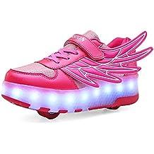 Unisex Niños LED Luz Flash Zapatos de Roller con USB Recargable Automática Ruedas Patines Al Aire