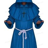 WLG Traje de Cosplay de Halloween, Ropa de Monje Medieval, Traje de Bruja de Traje de Monje, Sacerdote Que Sirve Traje Cristiano,Azul,S