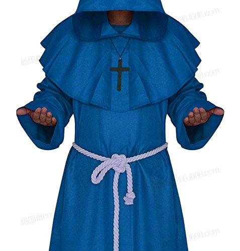 WLG Halloween Cosplay Kostüm mittelalterlichen Mönch Kleidung, Mönch Gewand Hexe Kostüm, Priester dienen Christian Anzug,Blau,S