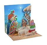 PopUP 3D Weihnachten Karte PopShot Drei Heilige Könige und Krippe 13x13 cm