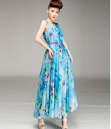 Bigood Robe à Fleur Femme Mousseline de Soie Plage Mariage Longue Sans Ceinture Bleu