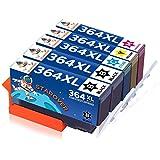 STAROVER 5x 364XL 364 XL Cartouches d'encre Remplacement Compatibles Pour HP Photosmart 5510 5511 5512 5514 5515 5520 5522 5524 6510 6520 6512 6515 7510 7520 7515 B8550 B8558 B110c B010a C5370 C5383 C5388 C6324 C6380 D5460 D7560 C310a C410a B209a B210a Deskjet 3070A 3522 3520 Officejet 4620 4622 4610 (2 Noir + 1 Cyan + 1 Magenta + 1 Jaune)