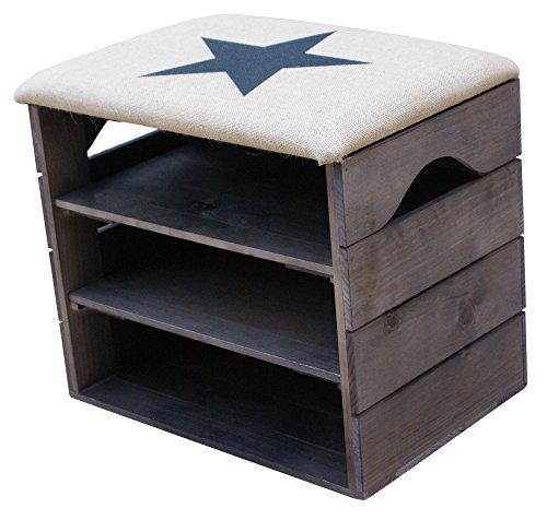 Scarpiera (taupe) - ottima, organizer per scarpe in legno vintage, deposito, armadietto, panca di sostegno, con seduta morbida, adatta per l'ingresso e il corridoio. legno nordico solido - liza - 51 x 45 x 36 cm (stella nera)