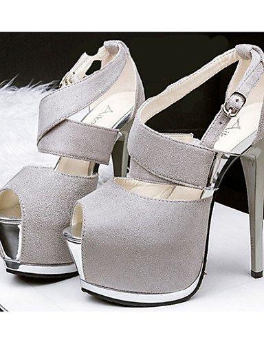 WSS 2016 Chaussures Femme-Décontracté-Noir / Rose / Gris / Bordeaux-Talon Aiguille-Talons-Chaussures à Talons-Laine synthétique gray-us6 / eu36 / uk4 / cn36