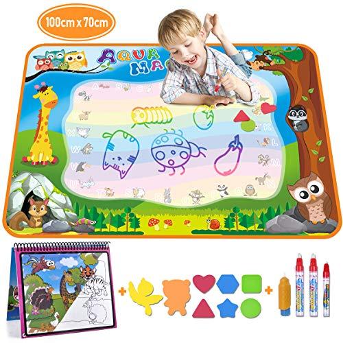 Aqua Doodle - Wasser Doodle Matte 100*70cm Kinder, Große Magic Malmatte mit Wasser Buch , 4 Magic Stifte, 8 Stempelset- Perfektes Spielzeug für Mädchen Junge -