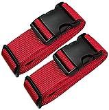[PACK DE 2] sangle de bagages Voyage Rouge - valise ceinture 5*200 cm - Sangle valise réglable -Sécurité et Identification De Votre Bagages … …