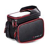Fahrradtasche Rahmentaschen, Fozela Fahrrad Handy Rahmen Tasche Lenkertasche Satteltasche Doppeltasche Geeignet für ALLE Fahrradtypen(Red)