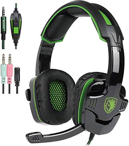 SADES SA930 Xbox one, PS4 Gaming Kopfhörer mit 3,5 mm verkabeltem über-Ohr Noise Isolier Mikrofon Lautstärke vier für PC/Mac/PS4/neue Xbox One/Smartphone/Tabelle (schwarz & grün)