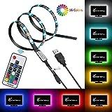 Vansky® RGB USB TV Hintergrundbeleuchtung für HDTV / Gaming PC, 90cm / 35 Zoll LED-Lichtleisten, mehrfarbiges Bias Beleuchtung Kit für Flachbildfernseher Zubehör und Desktop-PC (Reduzieren die Augenermüdung und erhöhen die Bildklarheit)