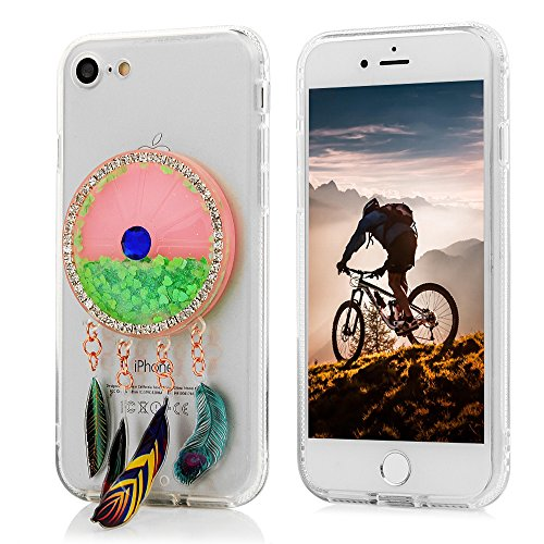 MAXFE.CO Coque Etui Protection iPhone 7 en PC + TPU Sable Découlée Housse Antichoc Case Cover Accessoire Coques pour iPhone 7 - Campanule Orange Campanule Vert